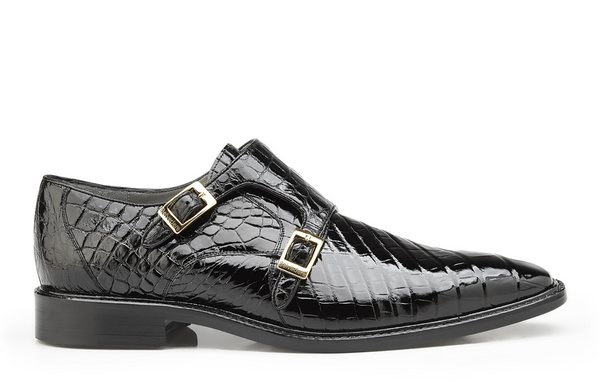 NEW Belvedere Oscar Mens Genuine Alligator Double Monk Buckle Dress Shoes Black