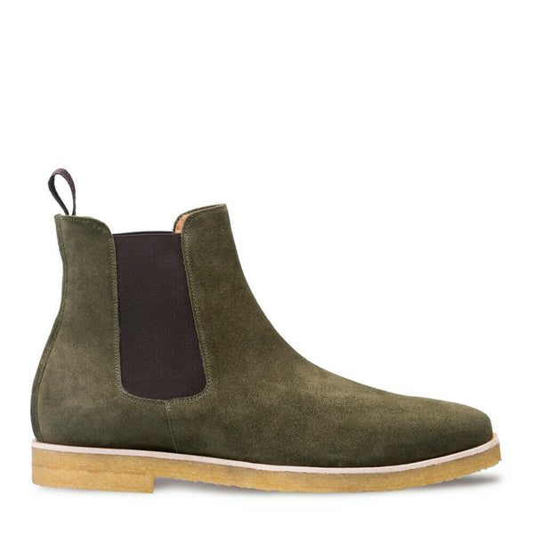 NEW Mezlan Genuine Suede Leather Chelsea Boots Dress Shoes Olive Green Engel