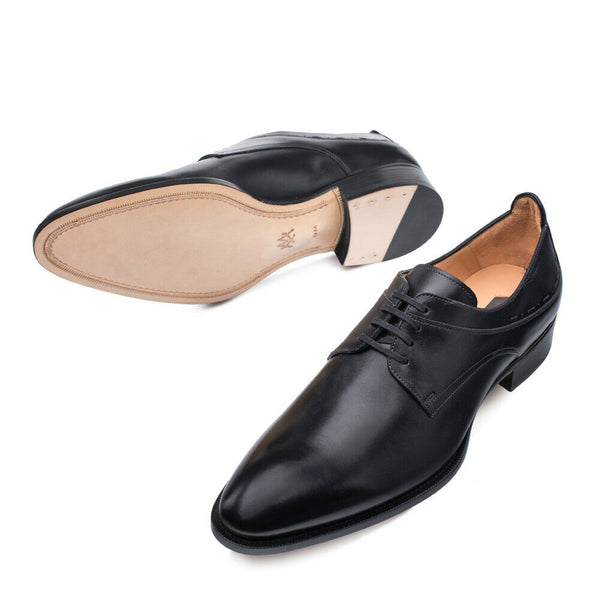 NEW Mezlan Genuine Hand Burnished Leather Dress Shoes Oxfords Archway Black