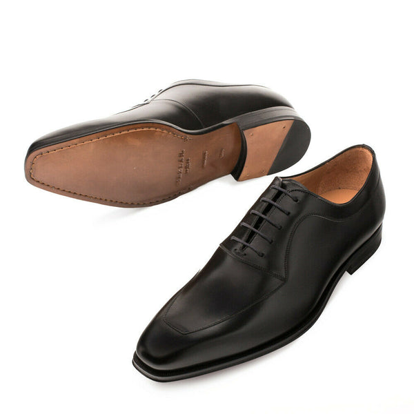 NEW Mezlan Genuine Italian Leather Dress Shoes Apron Toe Oxford Andres Black