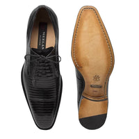 NEW Mezlan Genuine Lizard Skin Leather Exotic Dress Shoes Lace Up Pegaso Black