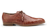 NEW Belvedere Lago Genuine Alligator Oxfords Lace Up Dress Shoes Brown Tan