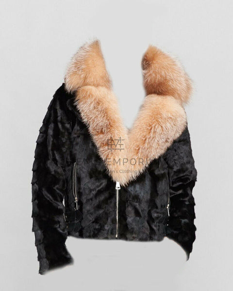 NEW Mens Genuine Mink W Fox 100% Real Authentic Fur Biker Jacket Winter USA