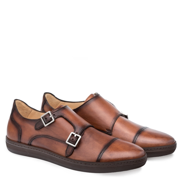 NEW Mezlan Mens Monk Strap Leather Dress Sneaker Handmade Vicenza Tan Brown