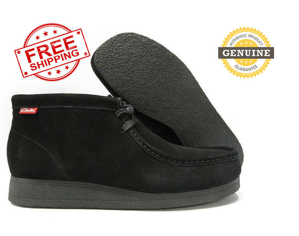 NEW Clarks Mens Wallabee Stinson Hi Chukka Boot Shoes Black SUEDE Black Sole