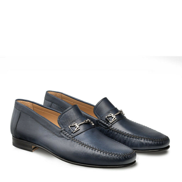 NEW Mezlan Genuine Handsewn Leather Slip On Loafer Dress Shoes Brussels Blue