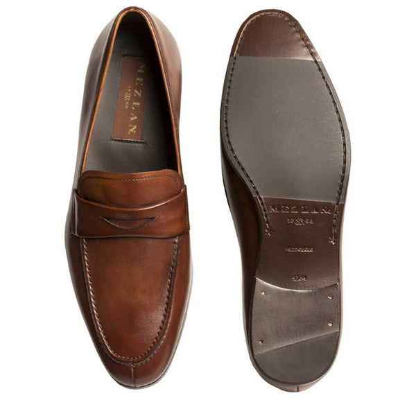NEW Mezlan Premium Genuine Leather Classic Penny Loafer Dress Shoes Brown Tan