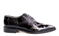 NEW Belvedere Nino Mens Shoes Black Genuine Ostrich Eel Leg Lace Up