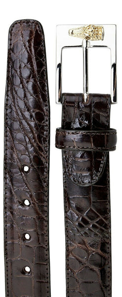 NEW Belvedere Men's Genuine Alligator Leather Adjustable Belt 2008 Dark Brown