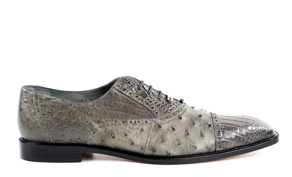NEW Belvedere Mens Shoes Onesto Genuine Ostrich Crocodile Skin Shoes Gray 1419