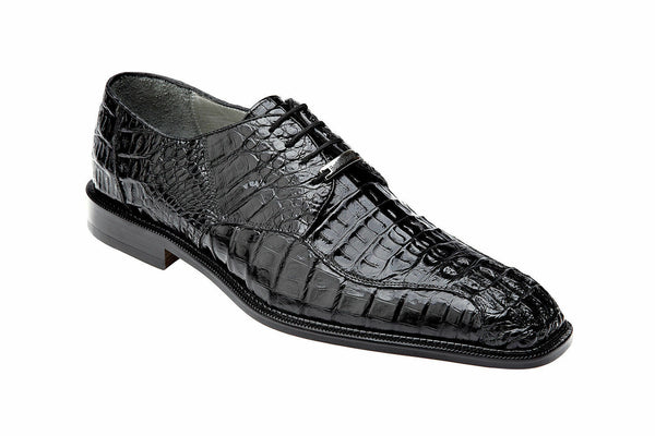 NEW Belvedere Chapo Genuine Crocodile Hornback Mens Oxford Dress Shoes Black