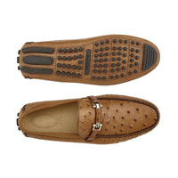 NEW Belvedere Omar Brandy Tan Brown Genuine Ostrich Skin Loafers Drivers Slip on