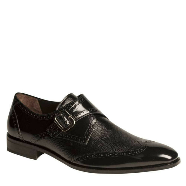NEW Mezlan Mens Single Monk Wingtip Dress Shoes Genuine Leather Senator Black
