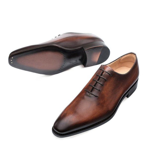 NEW Mezlan Hand Stained Genuine Leather Dress Shoes Pamplona Cognac Brown