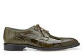 NEW Belvedere Batta Olive Green Mens Dress Shoes Genuine Ostrich Lace up Oxfords