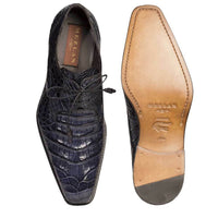 NEW Mezlan Genuine Crocodile Leather Exotic Dress Shoe LaceUp Anderson Navy Blue
