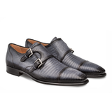 NEW Mezlan Genuine Lizard Leather Double Monk Exotic Dress Shoes Grey Argentum