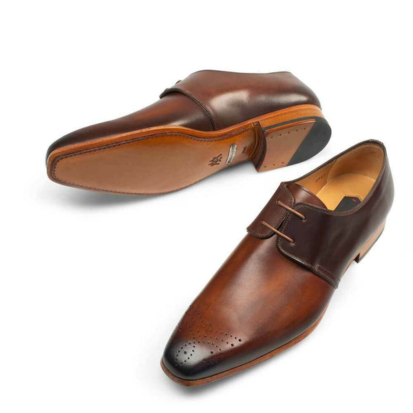 NEW Mezlan Genuine Hand Burnished Leather Dress Shoes Oxfords 8817 Brown Cognac
