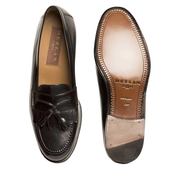 NEW Mezlan Genuine Leather Classic Kiltie Tassel SlipOn Loafer Dress Shoes Black