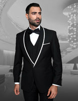 NEW Statement Mens Fashion Suit Tuxedo 3 PC Vest Modern Fit Genova Black