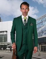 NEW Statement Mens Fashion Suit 3 PC Vest Modern Fit Solid Stzv-100 Forest Green