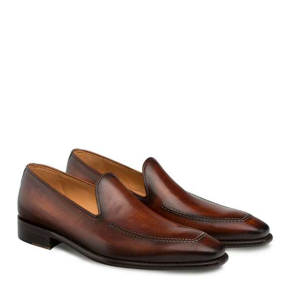 NEW Mezlan Genuine Calfskin Leather Slip On Dress Shoes Curtana Brown Cognac