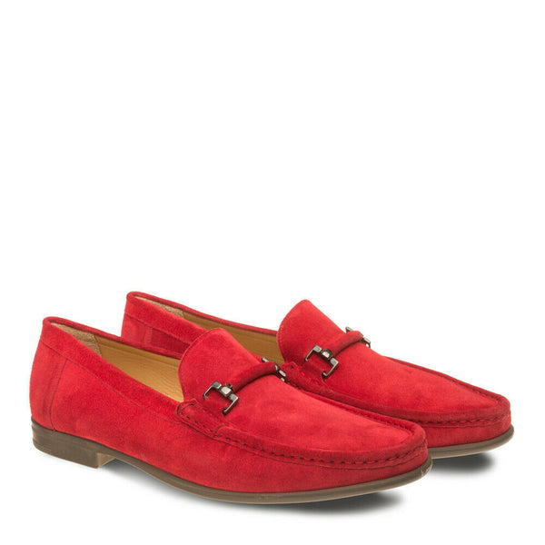 NEW Mezlan Dress Slip On Shoe Moccasin Genuine Suede Leather Handmade Landa Red