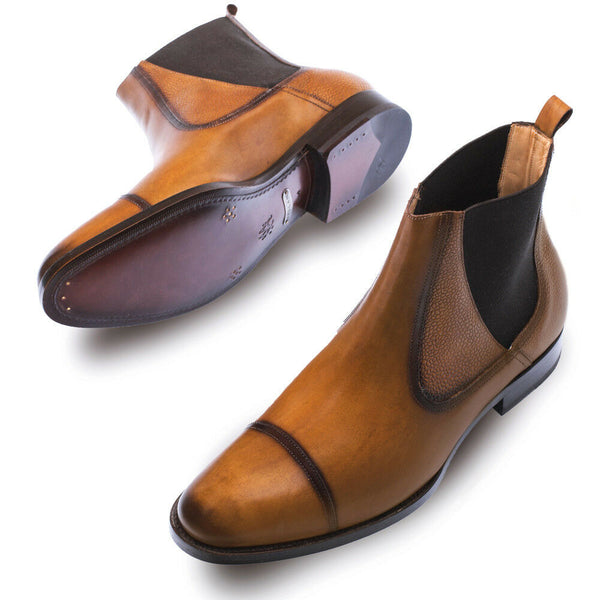 NEW Mezlan Genuine Calfskin Leather Chelsea Dress Boots Shoes Higgins Brown Tan
