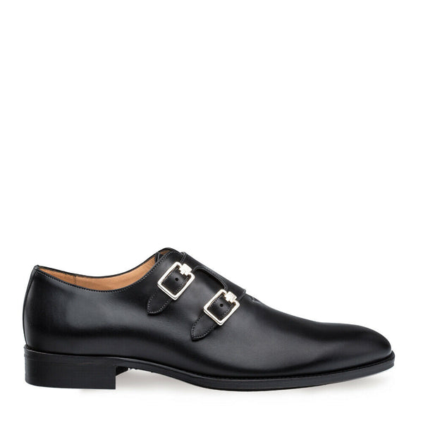 NEW Mezlan Mens Leather Plain Toe Double Monk Strap Dress Shoes Brescia Black