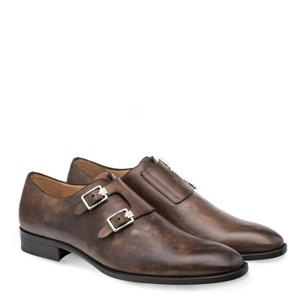 NEW Mezlan Mens Leather Handmade Double Monk Strap Dress Shoes Brescia Brown