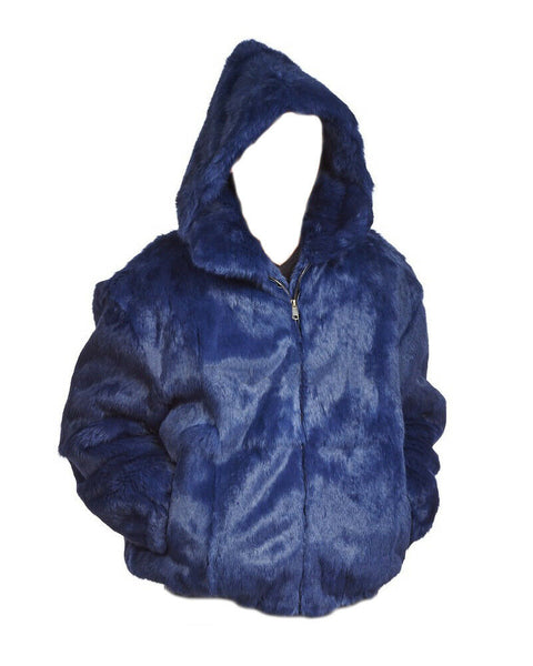 NEW Mens Genuine Rabbit 100% Real Authentic Fur Winter Coat Jacket USA Blue 6X