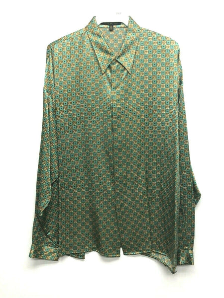 NEW Mens Creme De Silk Vintage Rare Fashion Green Gold Silk Soft Shirt Size XL