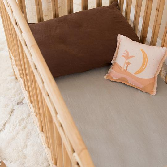 Linen Crib Sheet | Almond