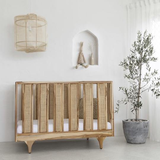 Linen Crib Sheet | White - Modern Raised