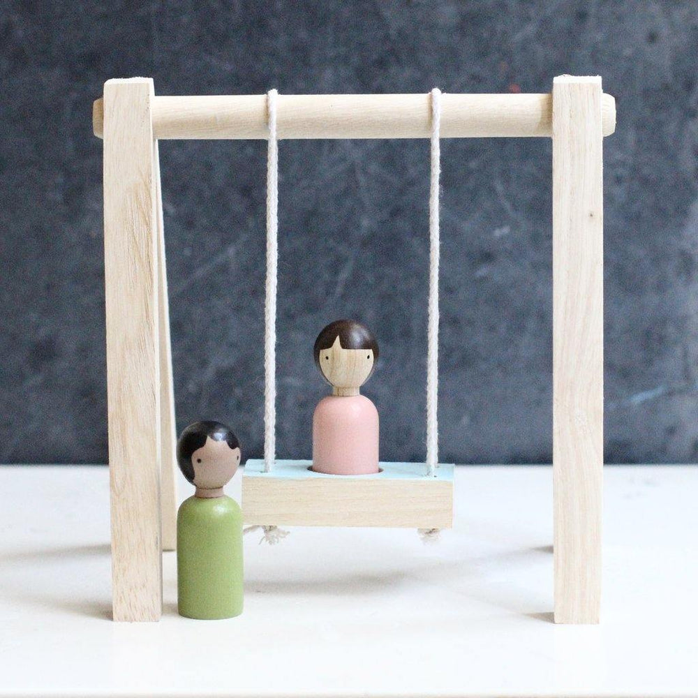 Wooden Swing Set + Dolls