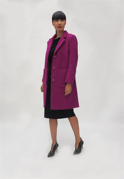 Wool Coat with Patch Pocket - Magenta
