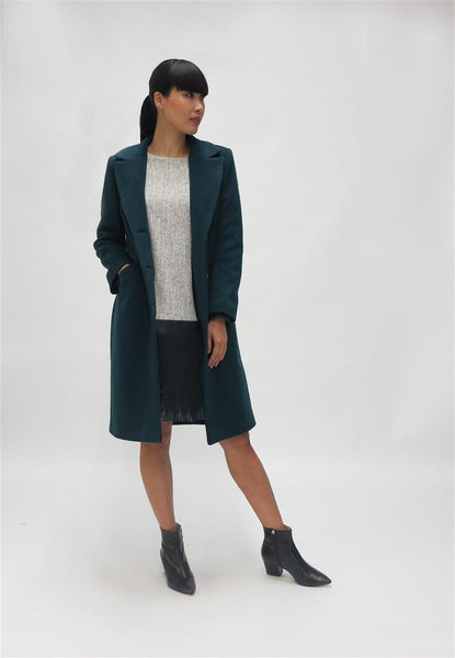 Wool Coat with patch pocket - Green