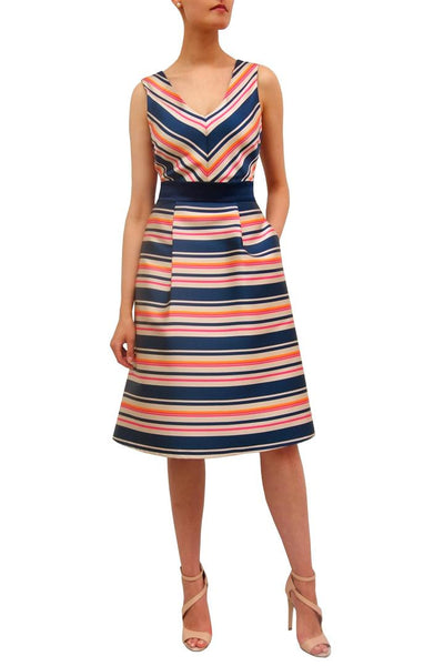 V neck chevron stripe dress