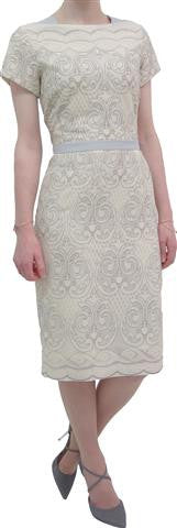 Lace dress with contrast shoulder panels and belt (7317/546)