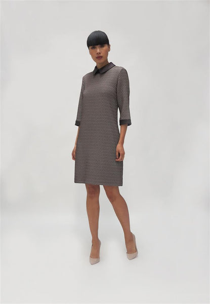 Velvet Collar houndstooth dress ( 741284) Wine