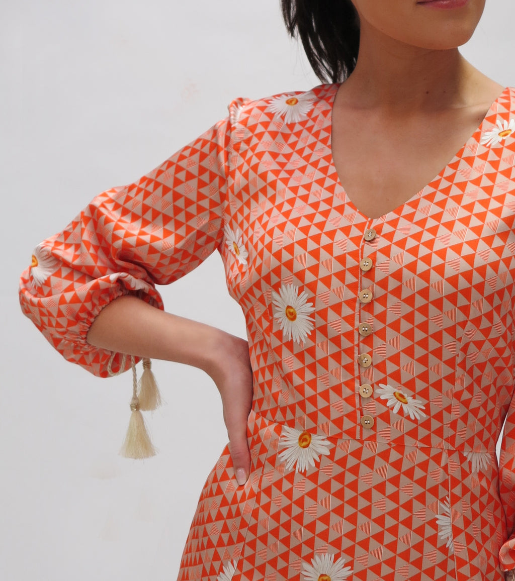 Flower dress with godets ( 7433/119 Orange)
