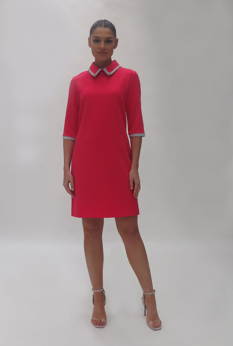 Contrast trim collar stretch dress (7434/121 Watermellon)