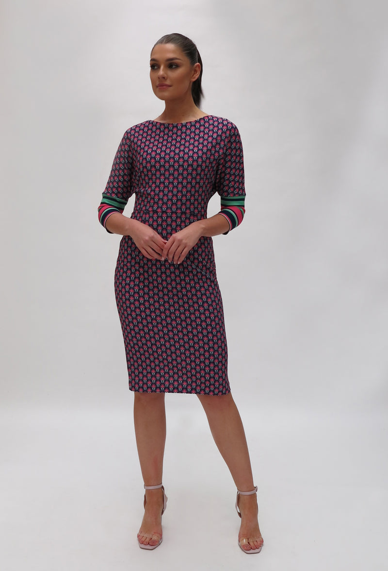 Knit Print Dress with stripe cuff ( 7436/124)