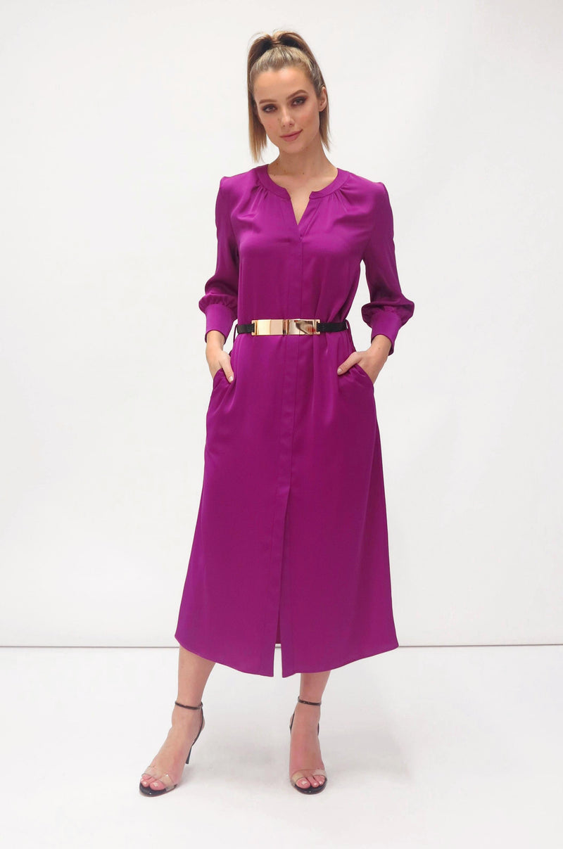 Shirt dress with gold belt (7454/55) Magenta