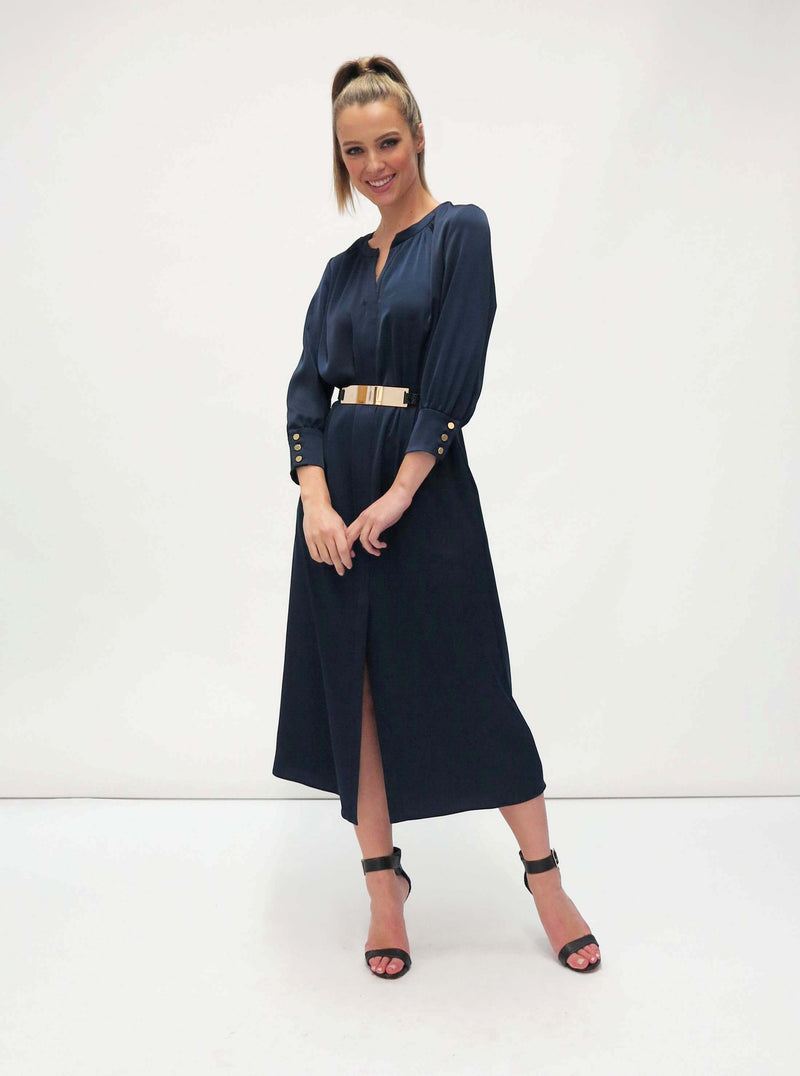Shirt dress with gold belt (7454/55) Navy