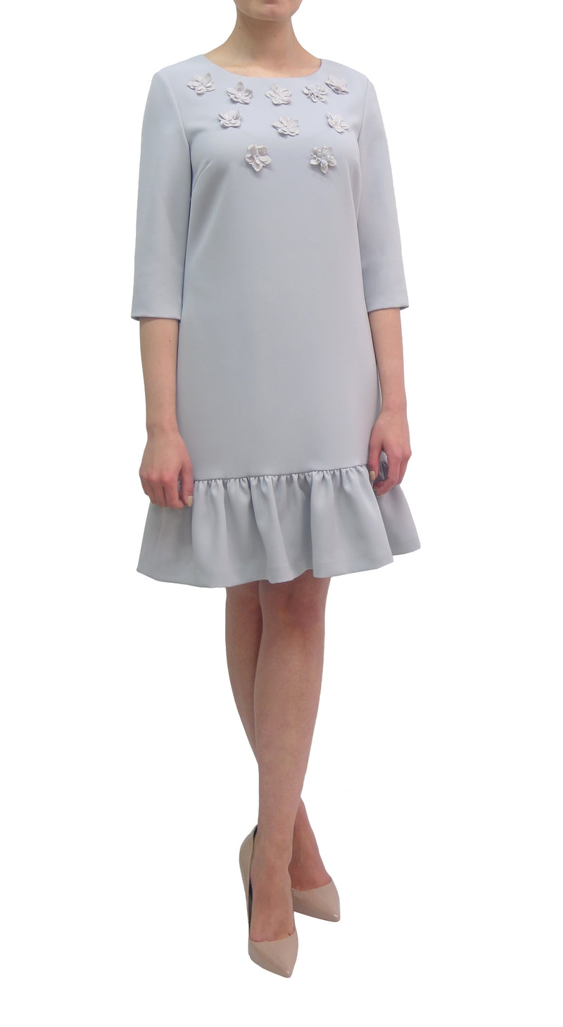 Embellished Dress with Frill Hem (K718)