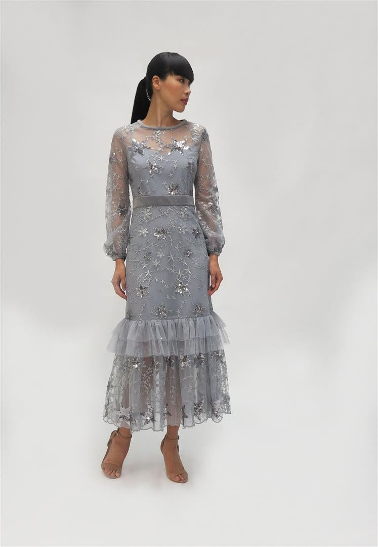 Fee G Embroidery dress  (K725)  Silver