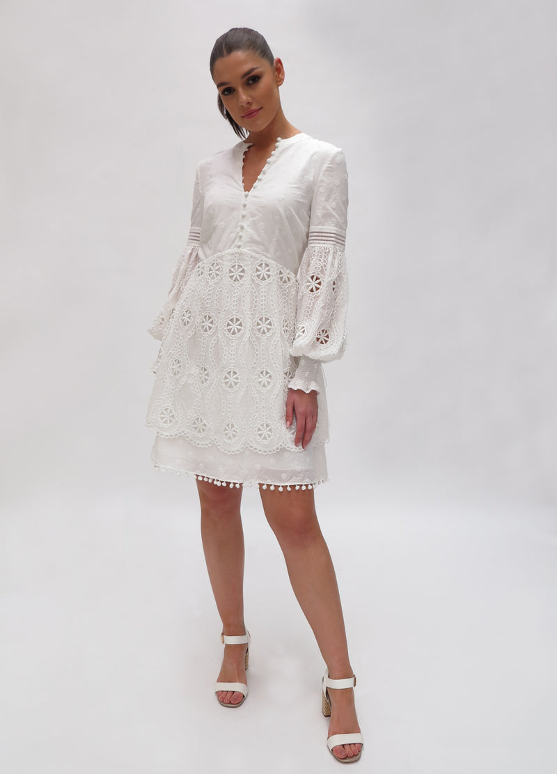 Broderie Anglaise Short Dress (K730)