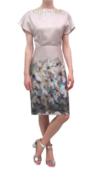 Printed dress with contrast yoke (LL7112/357)