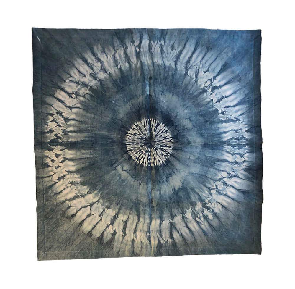 Tenkozan Shibori Indigo on Organic Hemp Silk